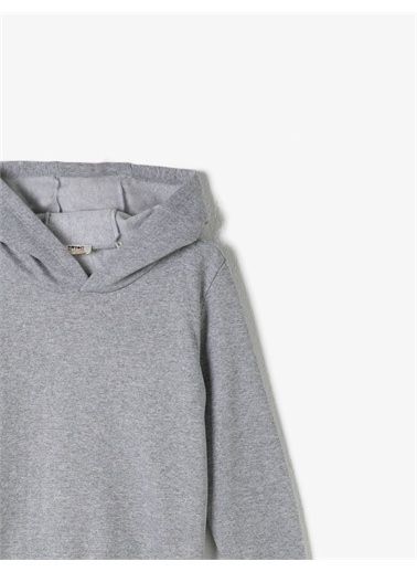 Koton Respect Life - Yasama Saygi - Kapüsonlu Basic Uzun Kollu Sweatshirt Gri